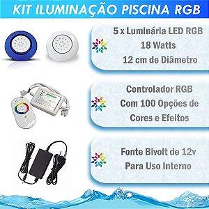 Kit Iluminação Piscina LED RGB 5x18 Watts - 12 cm