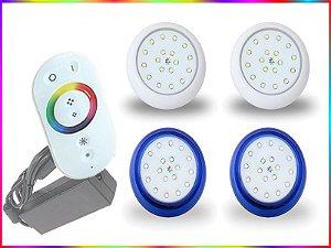 Kit Iluminação Piscina LED RGB 2x18 Watts - 8 cm