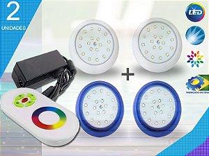 Kit Completo Iluminação Piscina Enertech LED RGB 2x18 Watts - 8 cm