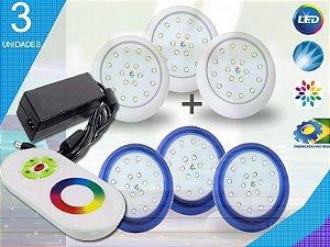 Kit Completo Iluminação Piscina Enertech LED RGB 3x18 Watts - 8 cm