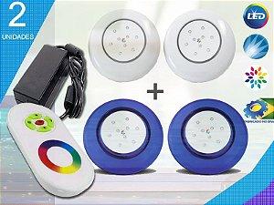 Kit Completo Iluminação Piscina Enertech LED RGB 2x9 Watts - 12 cm