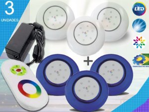Kit Completo Iluminação Piscina Enertech LED RGB 3x9 Watts - 12 cm
