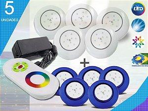 Kit Completo Iluminação Piscina Enertech LED RGB 5x9 Watts - 12 cm