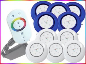 Kit Iluminação Piscina LED RGB 5x9 Watts - 12 cm