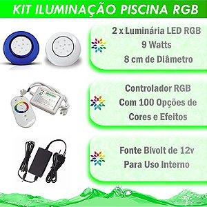 Kit Iluminação Piscina LED RGB 2x9 Watts - 8 cm
