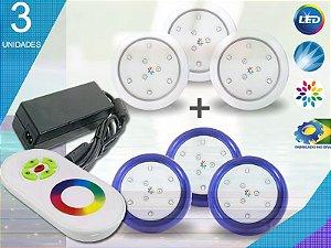 Kit Completo Iluminação Piscina Enertech LED RGB 3x9 Watts - 8 cm