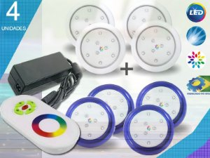 Kit Completo Iluminação Piscina Enertech LED RGB 4x9 Watts - 8 cm