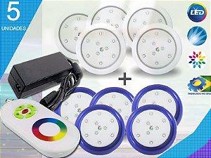 Kit Completo Iluminação Piscina Enrtech LED RGB 5x9 Watts - 8 cm