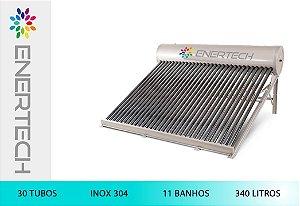 Aquecedor Solar Banho Reservatório Acoplado 340 Litros e 30 tubos Vácuo (Inox 304)