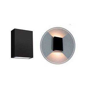 Arandela LED 2+2 Watts Slim Duo Branca ou Preta IP65 - Bivolt