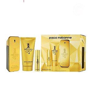 Perfume One Million 100ml + Gel para banho 100ml + Perfume Recarregável 10ml Paco Rabanne Eau de Toilette Masculino