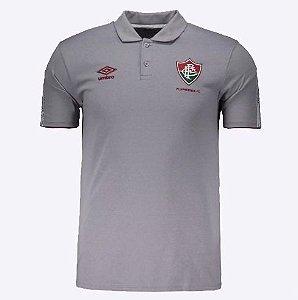 Camisa Polo Viagem Vinho/Cinza Fluminense UMBRO