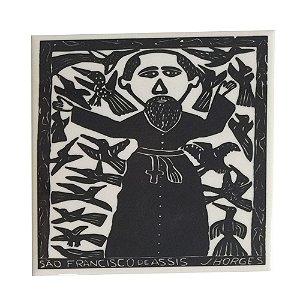 Azulejo em Xilogravura São Francisco de Assis  J. Borges - PE