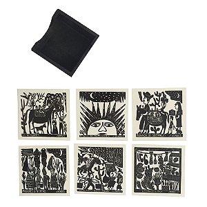 Porta Copos em Xilogravura J. Borges - PE