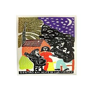 Azulejo em Xilogravura Sertão em Noite de Lua J. Borges - PE