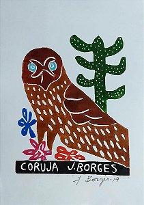 Xilogravura J. Borges Coruja P- PE