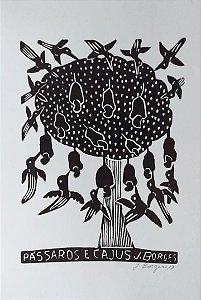 Xilogravura J. Borges Pássaros e Cajus M - PE