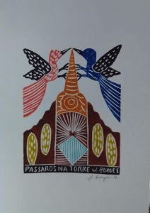 Xilogravura J. Borges Pássaros na Torrei M - PE