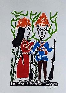 Xilogravura J. Borges Lampião e Maria Bonita G - PE