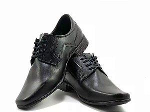 Sapato Social Pegada Anilina Cadarço Couro Preto Masculino