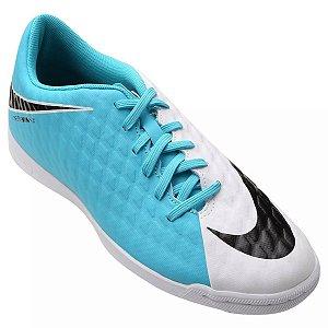 Chuteira Nike Jr HypervenomX Phade 3 Infantil - Branco/Azul