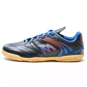 Chuteira Mundial M036 Futsal Couro Preta com Azul