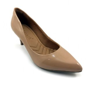 Sapato Bebecê Scarpin Verniz Amarilis Bege