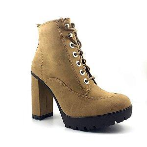 Bota Ankle Boot Bebecê Napa Stone Ambar Bege