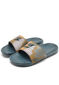 Sandália Nike Slide BenassiJDI Print Verde Militar Masculino