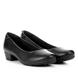Sapato Scarpin Modare Salto Baixo Grosso Napa Preto Feminino
