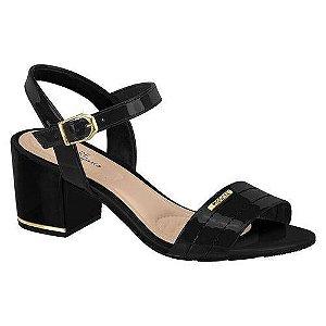 Sandália Modare Salto Grosso Verniz Conforto Preta Feminina