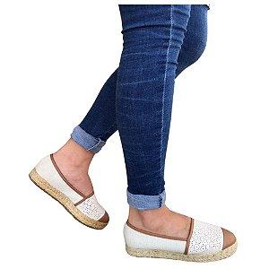 Sapato Alpargata Moleca Tecido Linho Bege Marrom Feminino