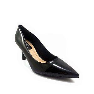 Sapato Beira Rio Scarpin Salto Baixo Verniz Cristal