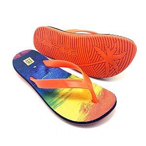 Chinelo Kenner Summer Rainbow Laranja Masculino