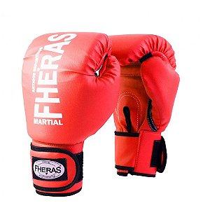 Luva Boxe Muay Thai Fheras Tradicional Oz Vermelha