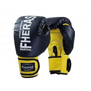 Luva Boxe Muay Thai Fheras Orion Oz Preto com Amarelo