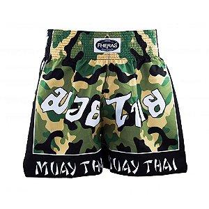 Bermuda Muay Thai Fheras Camuflada Verde com Preto Unissex
