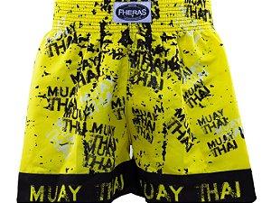 Bermuda Muay Thai Fheras Pixo Amarelo com Preto Unissex