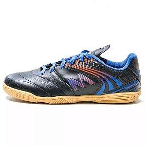Chuteira Futsal Infantil Mundial M036 Couro Preta com Azul