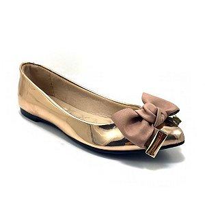 Sapatilha Moleca Metal Glamour Ouro Rosado