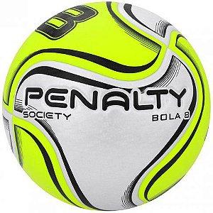 Bola de Futebol Society Penalty Bola 8 X Branco com Amarelo