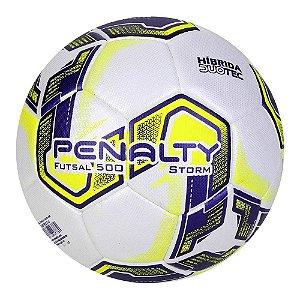 Bola de Futebol Futsal Penalty Storm 500 DT X Branca/Amarelo