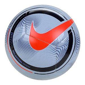 Bola de Futebol Campo Nike Phantom Pitch Cinza com Vermelho