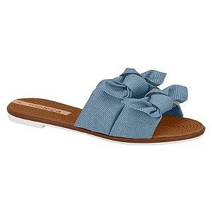 Tamanco Moleca Tiras Dupla Nó Tecido Azul Jeans Feminino