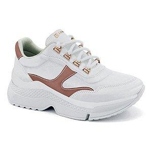 Tênis Ramarim Esportivo Chunky Sneaker Napa Branco com Rose