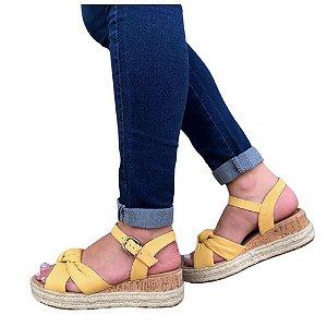 Sandália Bebecê Plataforma Napa Confy Amarelo Claro Feminino