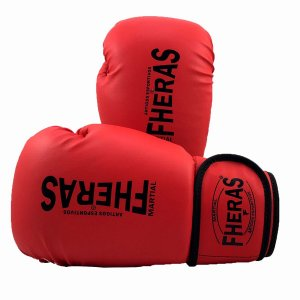 Luva de Boxe/Muay Thai Fheras Orion Trad Vermelha com Preto