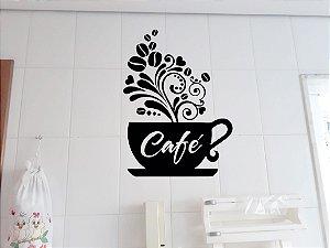 Adesivo decorativo de parede para cozinha azulejo xicará de café
