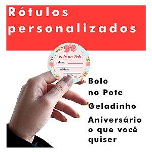 Etiquetas Adesivas Personalizadas Bolo No Pote 100un 4x4cm