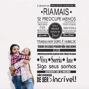 Adesivos de Parede Frase Família Ria Mais Sonhe Viva Sorria Ame
